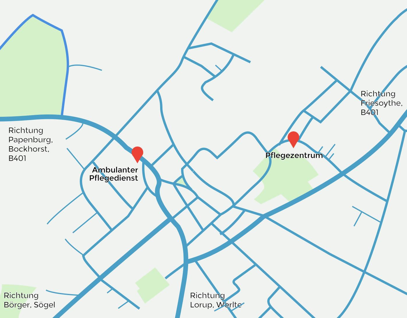Karte von Esterwegen, klein